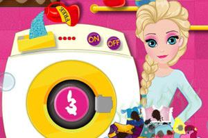 艾莎洗脏衣服